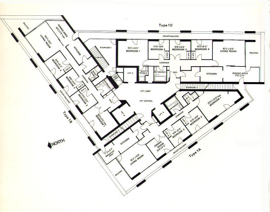 Type 1c barbican living for Plan of a flat