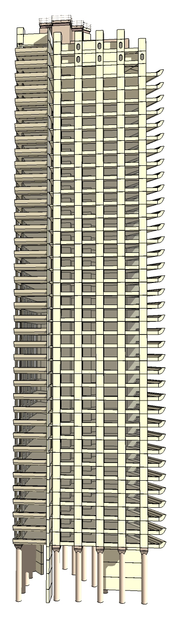 Graphic scale model of a tower block